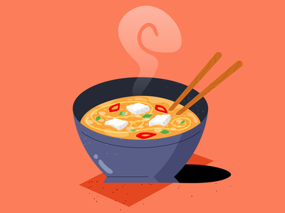 Miso Soup photoshop adobe illustrator styleframe digital work drawing japanese food texture sketch illustrator procreate soup food daily flat vector illustration design 2d