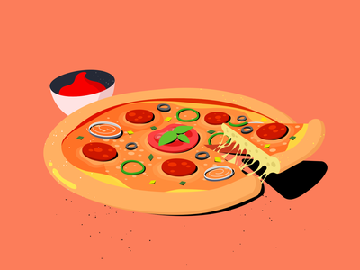 Pizza procreate sketch styleframe adobe illustrator food pizza texture drawing cartoon daily flat 2d design illustration vector