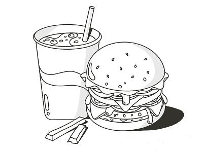 Hamburger drink cartoon drawing daily fast food hamburger adobe illustrator procreate design flat 2d vector illustration
