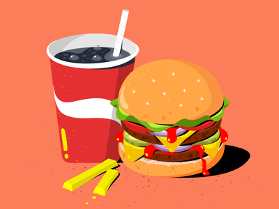 Hamburger drink cartoon drawing daily fast food hamburger adobe illustrator procreate design flat 2d vector illustration