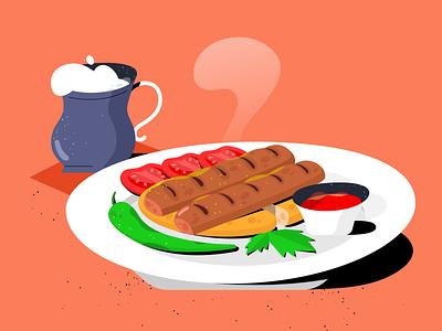 Kebab graphic design 2d procreate drawing kebab food texture daily design flat vector illustration