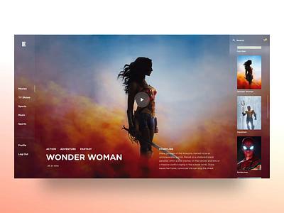 Entertainment TV App Exploration futuristic ui aquaman wonder woman interaction design animation after effects movie ui cinema app movie app tv shows macos tvos minimal