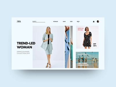 Zara Landing Page landing page homepage home page homepage design hero design landing page concept zara trending ecommerce design ecommerce app online shopping online store e-commerce ui design minimal app website design ecommerce website