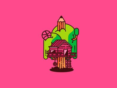 Dribbble treehouse tree house pencil bezier illustration fun kid sticker