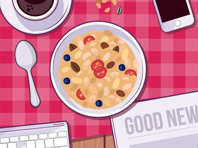 Alpen lifestyle food spoon morning phone granola table illustration coffee