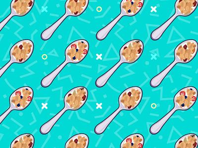Spoon pattern health food morning spoon granola illustration pattern