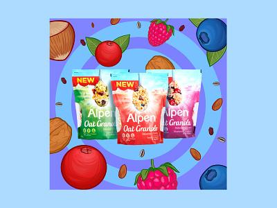 Fruits explosion colorful illustration food morning granola explosion heathy fruit