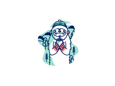 Yeti mountain character cute snow illustration cofffee yeti