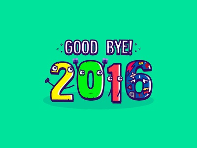 2016 illustration type doodle funny good bye new year