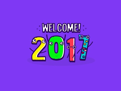 2017 type doodle welcome funny new year illustration happy
