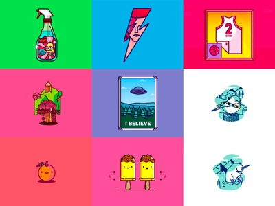Best Nine! pop cuture character icons illustration david bowie 2016 best nine