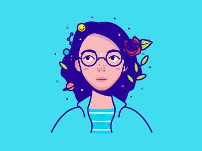 Rose girl glasses character avatar illustration rose girl portrait