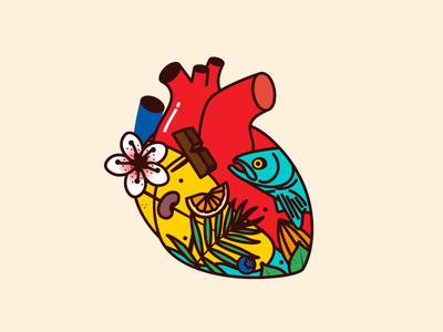 Heart fish organs plants vector illustration vegetables food heart