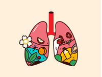 Lungs heart food vegetables illustration vector plants organs fish