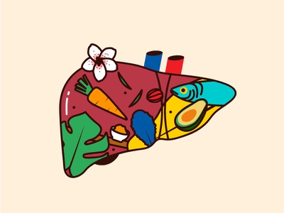 Liver fish organs plants vector illustration vegetables food liver