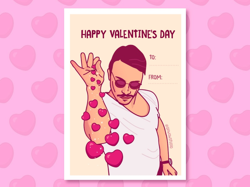 Happy Valentine's Day vector heart card illustration funny salt bae valentine