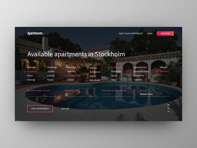 Apartment Rental Website 1st screen concept apartment web ui simple minimal material interface design