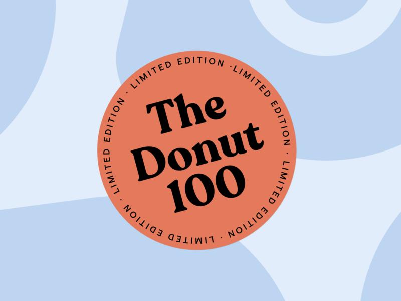 The Donut 100 brand design donut sticker fintech