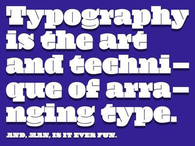 Typographic Explorations 3 typography typeface type toronto palette layout font colours bold big slab serif