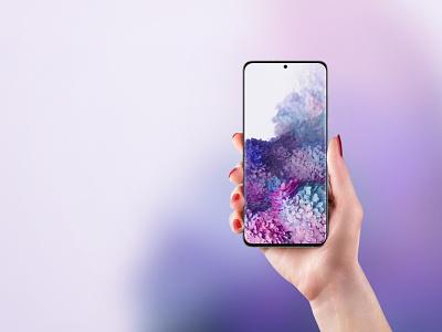 Samsung Galaxy S20 Mockup psd mock-up presentation user experience user interface app ux ui photoshop galaxy s20 mockup phone mockup s20 galaxy samsung
