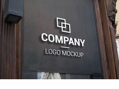 3D logo mockup on dark surface store showcase shop panel mock-up mock up marketing identity photoshop psd advertising advertisement ad company branding promotion design mockup logo 3d