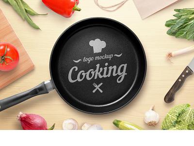 Cooking, restaurant logo mockup graphic design web design vegan presentation photoshop psd healthy table kitchen cuisine pan mock-up branding identity restaurant mockup logo cooking