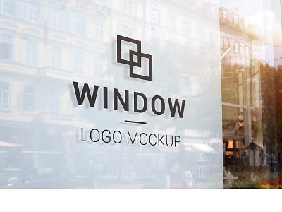 Black logo mockup on store window presentation graphic design showcase mock-up full layered photoshop promotion branding glass window mockup sign shop logo black