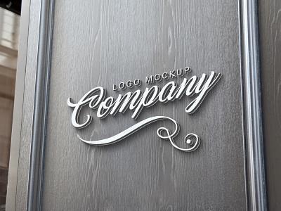 3d logo mockup design psd photoshop company mock-up wooden wall signage sign branding presentation mockup logo 3d