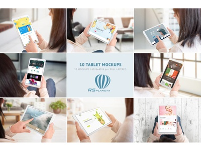 10 Tablet Mockups tablet mockup samsung galaxy tab promotion design theme template android showcase user interface user experience ui ux tab screen woman hand