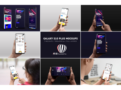 Samsung Galaxy S10 Plus Mockups presentation showcase full layered psd photoshop isolated hand android samsung galaxy graphic design web design design ux ui user experience user interface mockup samsung galaxy s10 plus