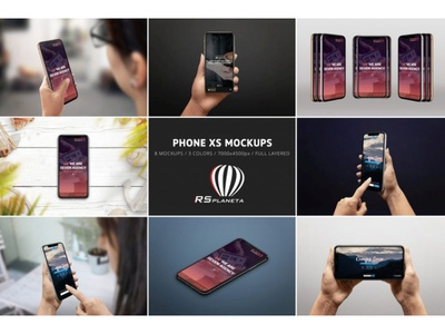 iPhone XS Mockups full layered showcase hand responsive ios apple photoshop presentation photorealistic ux ui user experience design user interface mock-up mockup iphone xs iphone
