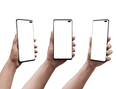 Samsung Galaxy S10 Plus Mockup samsung galaxy galaxy s10 plus galaxy samsung promotion mock-up user experience ui ux user interface graphic design android web design hand full layered presentation showcase photoshop mockup design