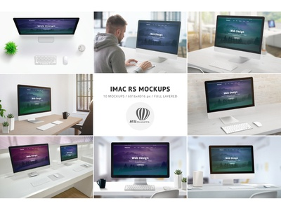 iMac RS Mockups thunderbolt mock-up theme drupal joomla wordpress presentation web design full layered showcase design apple imac photoshop mockup