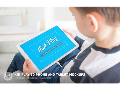 Kid Play 10 Phone And Tablet Mockups kid game play tablet phone mockup user interface presentation user experience showcase design photoshop full layered web design mock-up android boy