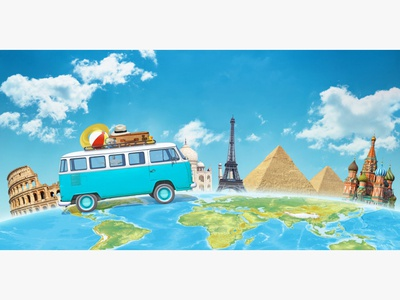 Travelling the world in a camper van PSD composition