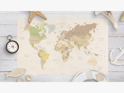 Travel world map scene composition