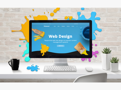 Web Design studio concept website creating creative painting we biste presentation user experience mock-up graphic design web design full layered design photoshop