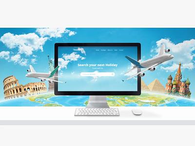 Search your next holiday web design concept traveling website design header hero slider presentation design full layered photoshop illustration graphic design app travel web design webdesign website
