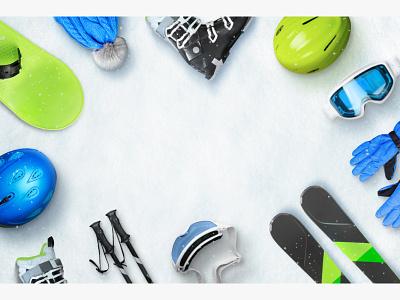 Winter ski sport equipment placed on snow with copy space shop rental service top view flat lay snowflakes alpine resort comosition banner scene creator sport winter sports microstock photo photoshop hero image snow winter ski