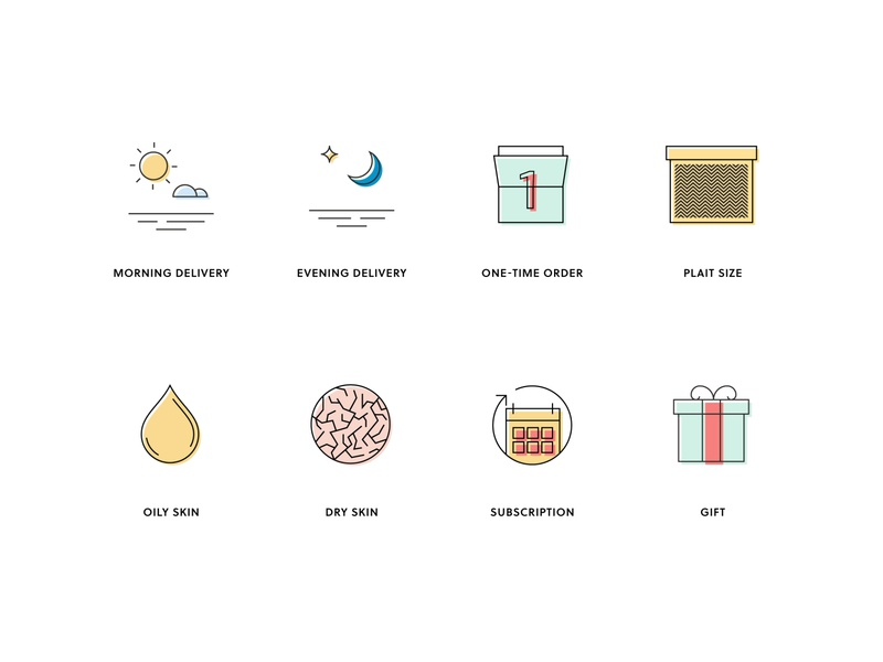 Plait icons branding ui flat vector flat design icon design icon pack icons icon set icon delivery skin type dry skin oily skin present gift subscription evening morning