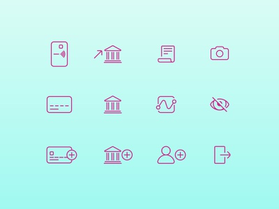 Onvoy icons top up exit reports activity send money withdraw money bank transfer bank ux ui mobile app app icons app design icon design icon pack iconography icon set icons icon