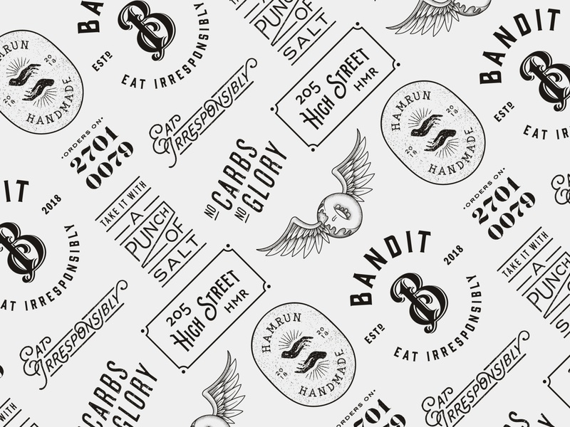Bandit pattern badges handmade tattoo culture lettering iconography icons vector gritty grit doughnut donut carbs eat burger food food pattern pattern fast food branding fast food fastfood