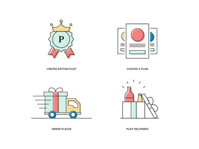 Plait icons van truck subscription box subscription playful payment plan payment pastels limited edition icon set icons icon design icon flat design flat drinks delivery crown branding box