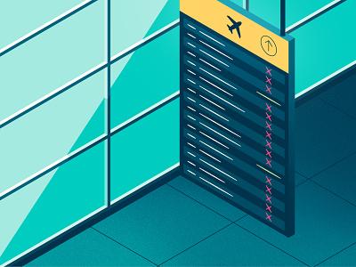 Chargebacks gradients isometric illustration isometric grain texture texture noise grainy grain illustration cancelled travel flights airport payments coronavirus covid-19 covid19 chargebacks fintech
