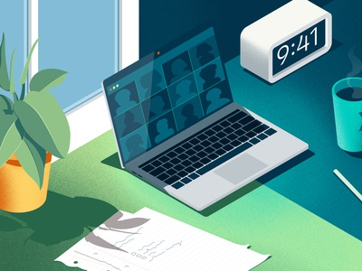 Covid-19 Update remote first texture remote work remote plant office noise laptop isometric illustration isometric illustration home office grain texture grainy grain fintech branding fintech covid-19 covid19