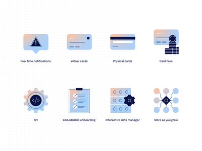 Weavr icons data notifications fees api compliance onboarding virtual card cards ui design ux design finance icons icon design icon set icons iconography financial technology money payments fintech banking