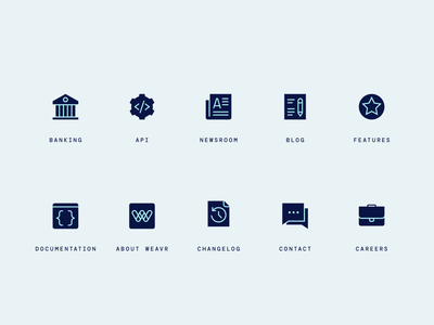 Fintech navigation icons icons icon set icon design iconography icon designer fintech financial technology navigation banking api press news blog documentation about changelog contact careers features iconpack