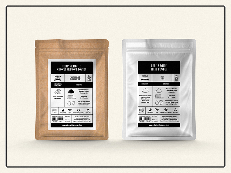 Activated charcoal packaging