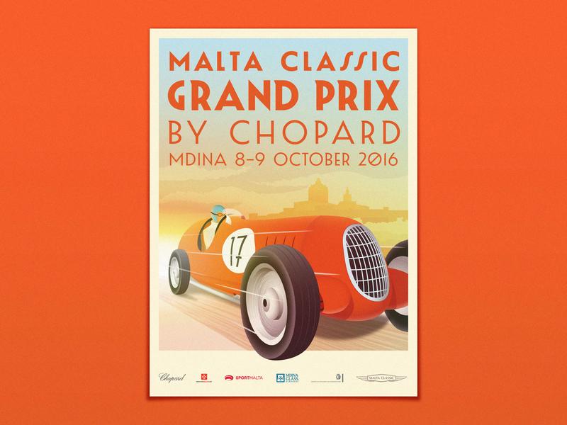 Malta Classic Grand Prix 2016 car poster sunset racecar racing race grand prix malta mdina illustration retro poster vintage poster retro vintage poster classic cars classic car classics classic