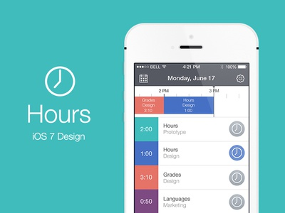 Hours iOS 7 hours ios 7 ui iphone app calendar time tracking date schedule clean light